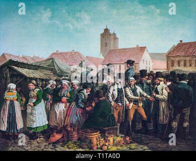 A market in  19th Century Lund, a city in the province of Scania, southern Sweden. - Stock Image