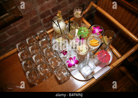 Colorful array of empty exotic cocktails - Stock Image