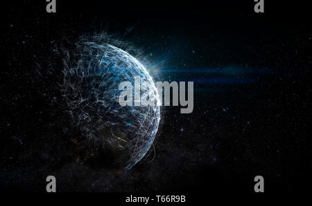 Futuristic outer space planet - Stock Image