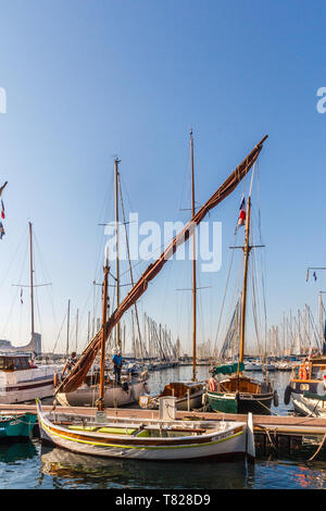 Toulon, France - 29th September 2018: Traditional fishing boat Saint Antoine in Toulon Harbour.The boat dates from 1933. - Stock Image