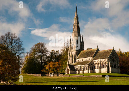 A view of St Mary's church on a beautiful autumn day at Studley Royal, Ripon, North Yorkshire. November. - Stock Image