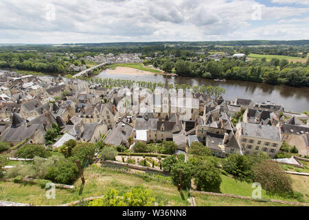 Chinon, France. Picturesque aerial view of Chinon with the tower of Eglise Saint Maurice in the centre of the image. The River Vienne and the village - Stock Image