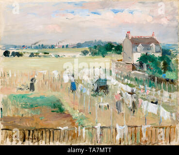 Berthe Morisot, Hanging the Laundry out to Dry, painting, 1875 - Stock Image