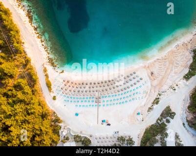 Morning at Thasos Porto Vathy white sand beach in Greece - Stock Image
