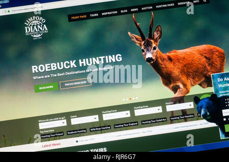 Home page of the website of Diana Hunting Tours promoting their roebuck hunting tours. - Stock Image