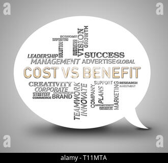 Benefit Versus Cost Words Means Value Gained Over Money Spent. Calculation Is Earnings Vs Expense - 3d Illustration - Stock Image