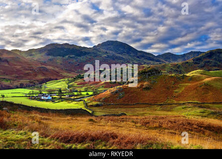 An autumn view of the distinctive landscape of the Langdale Valley in the English Lake District. - Stock Image