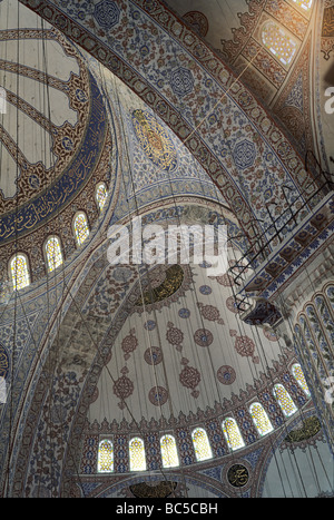 View of the ornate internal ceiling of Sultanahmet Camii (the Blue Mosque) - Stock Image