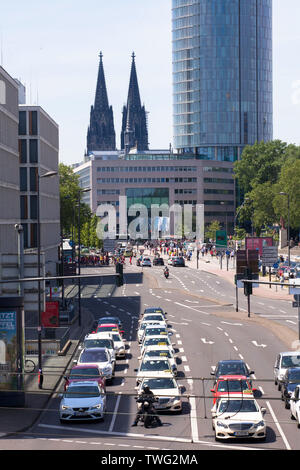 view to the cathedral and the LVR tower, Opladener Street in the district Deutz, Cologne Germany.  Blick zum Dom und zum LVR Turm, Opladener Strasse i - Stock Image