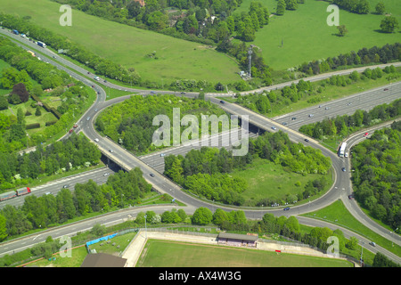 Aerial view of a motorway junction where the M40 junction meets the A355 near Beaconsfield - Stock Image