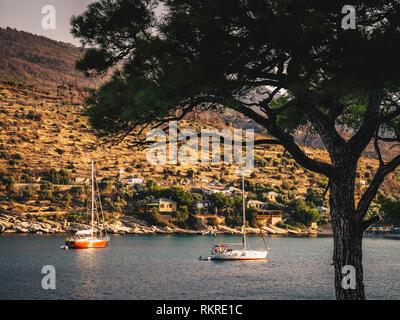 Aliki yachting harbour in Thasos, Greece - Stock Image