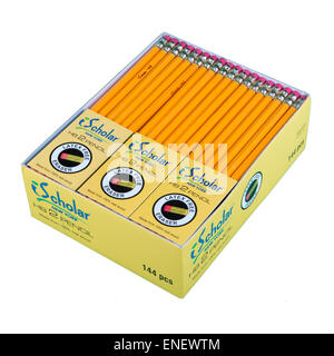 One gross (144) of non-toxic real wood HB2 pencils with latex free erasers - Stock Image