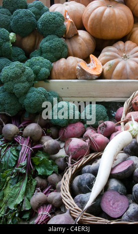 Vegetables on a market display - Stock Image