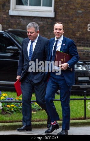 London, United Kingdom. 15 January 2019. Brandon Lewis, Chairman of the Conservative Party and Matt Hancock, Secretary of State for Health and Social Care arrives at 10 Downing Street for the weekly cabinet meeting ahead of the critical Brexit vote. Credit: Peter Manning/Alamy Live News - Stock Image