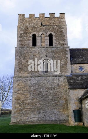Norman Tower of St Luke's Church, Tixover, Rutland - Stock Image