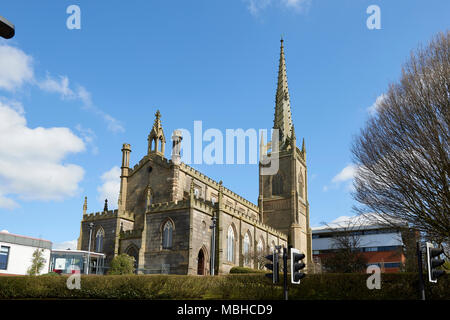 Angle shot of Christ Central Preston Church seen from Fylde Street in Preston, UK. The diminishing perspective has been minimized. - Stock Image