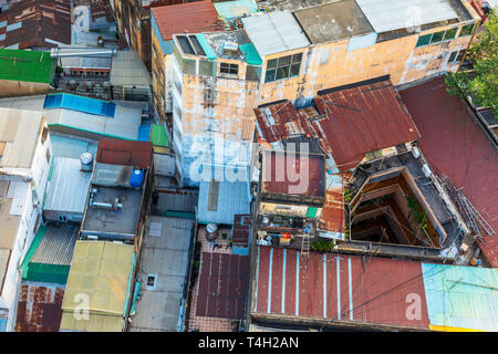 Colourful roofs and details of traditional housing in Ho Chi Minh city centre, Saigon, Vietnam, Asia - Stock Image