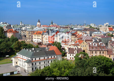 Aerial cityscape of old town of Lublin, Poland - Stock Image