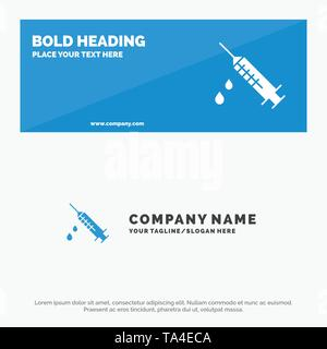 Dope, Injection, Medical, Drug SOlid Icon Website Banner and Business Logo Template - Stock Image