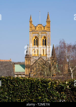 Bell tower of St Mary Church at Buckfast Abbey, Devon, UK - Stock Image