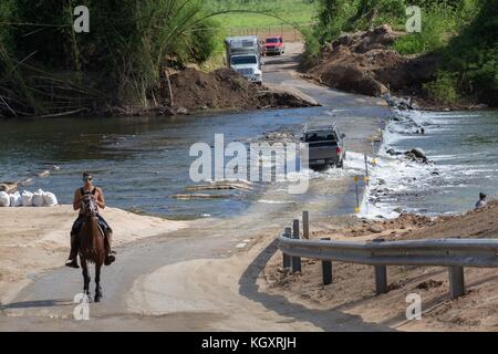 Puerto Ricans cross a flooded river in vehicles and on horseback after a bridge collapsed in the aftermath of Hurricane - Stock Image