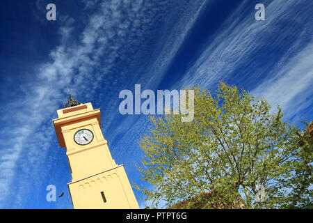 Clock tower and sky, Grasse,Alpes Maritimes, 06, PACA, France - Stock Image