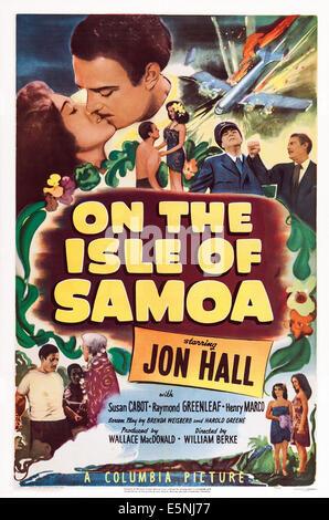 ON THE ISLE OF SAMOA, US lobbycard, top left: Susan Cabot, Jon Hall, 1950 - Stock Image