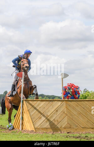 Rockingham Castle, Corby, UK. 21st May, 2017. Andrew James and his horse Jazz Concerto vault a wooden obstacle on - Stock Image