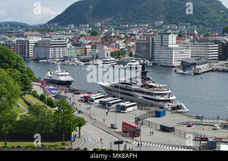A view over the waterfront at Bergen, Norway; in the centre the superyacht Kismet associated with billionaire Fulham FC owner Shahid Khan. - Stock Image