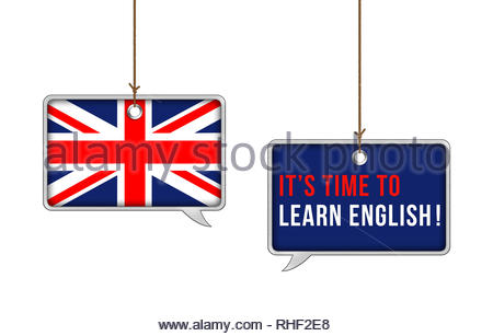 It is time to learn English now - Stock Image