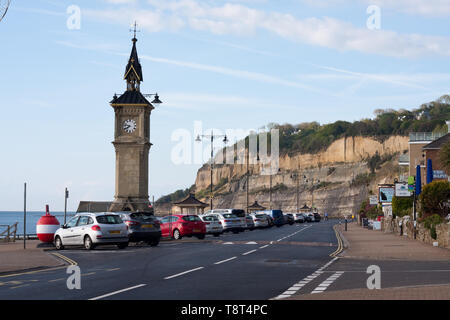 The clock tower which commemorates Queen Victoria's jubilee on Shanklin esplanade, Isle of Wight - Stock Image