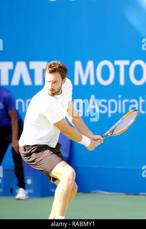 Pune, India. 3rd January 2019. Ernests Gulbis of Latvia in action in the first quarter final of the singles competition at Tata Open Maharashtra ATP Tennis tournament in Pune, India. Credit: Karunesh Johri/Alamy Live News - Stock Image