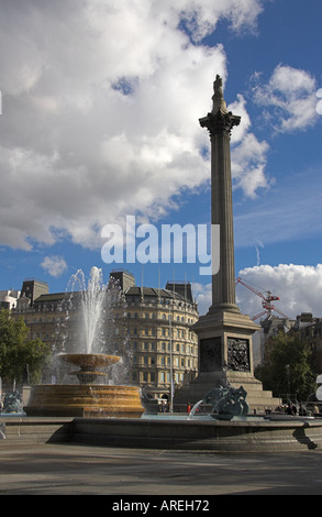 Nelson's Column and Fountains, Trafalgar Square, London, UK - Stock Image