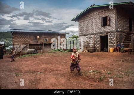 Street scene in small village near Kalaw, Shan State, Myanmar - Stock Image