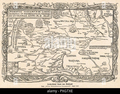 A map of Russia, concentrating on the areas surrounding Moscow.       Date: 1549 - Stock Image