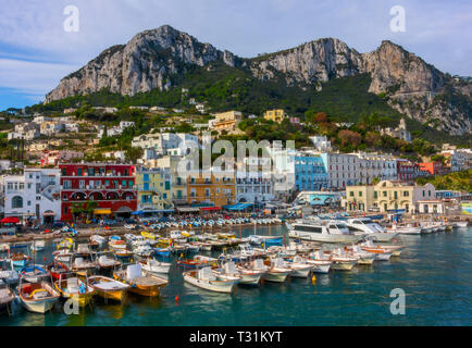 Colourful port of Capri island in Italy.  I took the first ferry from Naples to Capri Island. As a foreigner in Italy I didn't expect  to find so exot - Stock Image