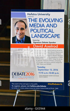 Hempstead, New York, USA. September 13, 2016. Poster is on display in lobby for event with DAVID AXELROD - CNN Senior - Stock Image