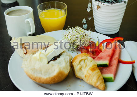 Full hearty breakfast and healthy too - Stock Image