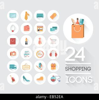 Shopping and retail icons on grey - Stock Image