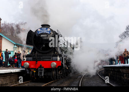 Grosmont, North York Moors, United Kingdom. 12th March, 2015. Following a £4.2 million overhaul, the LNER Class - Stock Image