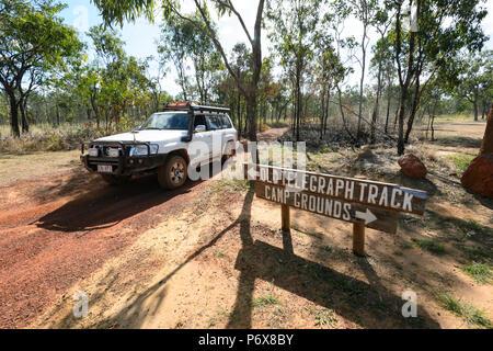 4X4 Nissan Patrol driving the Old Telegraph Track or OTT, Cape York Peninsula, Far North Queensland, FNQ, QLD, Australia - Stock Image