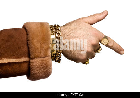 A cockney wheeler dealer pointing at someone - Stock Image