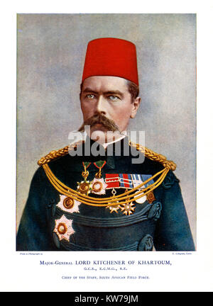 Kitchener, 1900 colour portrait photograph of the English soldier as Major-General Lord Kitchener of Khartoum when - Stock Image