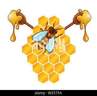 beehive honeycomb bee food    honey  sweet natural illustration - Stock Image
