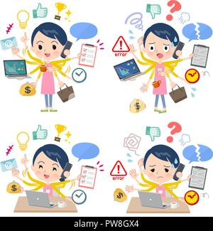A set of Childminder women who perform multitasking in the office.There are things to do smoothly and a pattern that is in a panic.It's vector art so  - Stock Image
