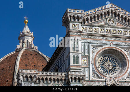 Tourist on the cupola of the Duomo next to the Campanile in the city of Florence in the Tuscany region of Italy. The dome of the Duomo was built by Fi - Stock Image