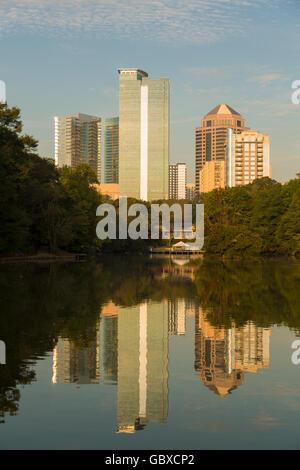 Atlanta skyline with water reflections Piedmont Park, USA - Stock Image