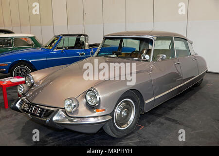 Three-quarter front view of a 1967, Citroen DS 21, on display at the London Motor Show 2018 - Stock Image