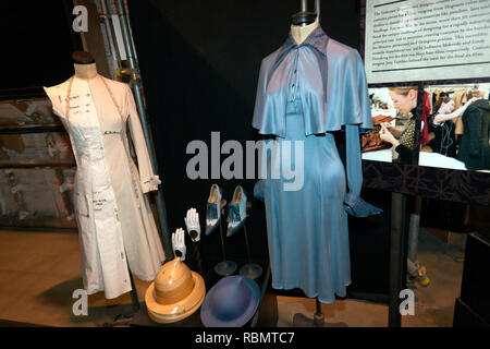 Costume design for the Students of Beauxbatons, used in Harry Potter and the Goblet of Fire at the Making of Harry Potter Tour, Warner Brothers Studio - Stock Image