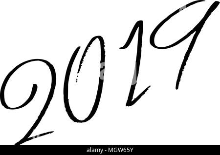 Happy 2019 text sign illustration - Stock Image